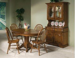 Classic Oak Burnished Rustic Pedestal Table