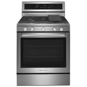 Kitchenaid30-Inch 5-Burner Gas Convection Range - Stainless Steel