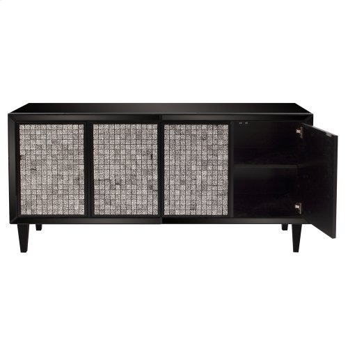 Glossy Black Cabinet w/ Tile Front
