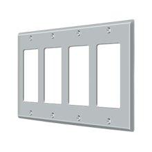 Switch Plate, Quadruple Rocker - Brushed Chrome