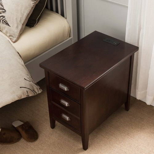 Cabinet End Table with Top Drawer, Door and 2-plug Electrical Outlet/USB Charging Station - Laurent Collection #10508