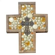 Small Orange/tan Jeweled Cross