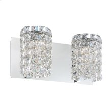 Queen Crown 2-Light Vanity Sconce in Chrome with Clear Crystal