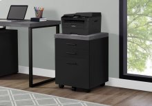FILING CABINET - 3 DRAWER / BLACK / GREY ON CASTORS