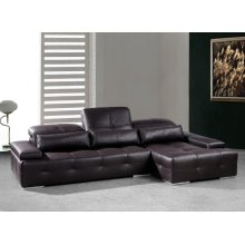 Divani Casa Sorrento Modern Chocolate Brown Sectional Sofa
