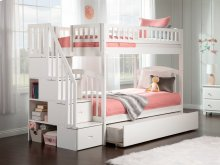 Westbrook Staircase Bunk Bed Twin over Twin with Urban Trundle Bed in White