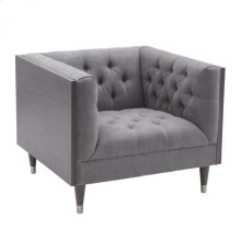 Armen Living Bellagio Sofa Chair in Gray Wash Wood finish with Shiny Silver legs caps and Mist Fabric upholstery