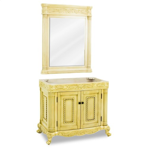 """39-11/16"""" vanity base with antique White finish and hand-carved botanical and rope details framed with reed-style columns."""