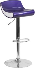 Contemporary Blue-Purple and White Adjustable Height Plastic Barstool with Chrome Base Product Image