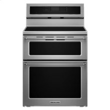 Stainless Steel KitchenAid® 30-Inch 5 Burner Induction Double Oven Convection Range