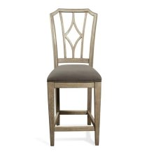 Corinne Upholstered Diamond Back Counter Height Stool Sun-drenched Acacia finish