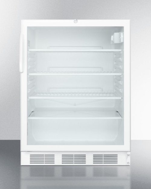 ADA Compliant Commercially Listed Built-in Undercounter Glass Door All-refrigerator With White Cabinet and Front Lock