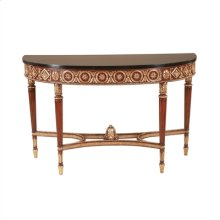 REGENCY FINISHED MAHOGANY CONS OLE TABLE, GOLD LEAFACCENTS, B LACK WAXSTONE TOP