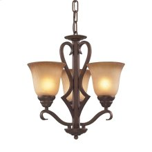 Lawrenceville 3-Light Chandelier in Mocha with Antique Amber Glass