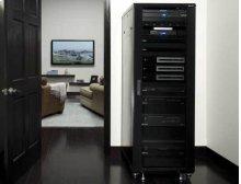 """Black 70.5"""" Tall AV Rack 36U Component rack for home theater equipment"""