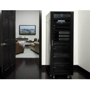 "Black 70.5"" Tall AV Rack 36U Component rack for home theater equipment"