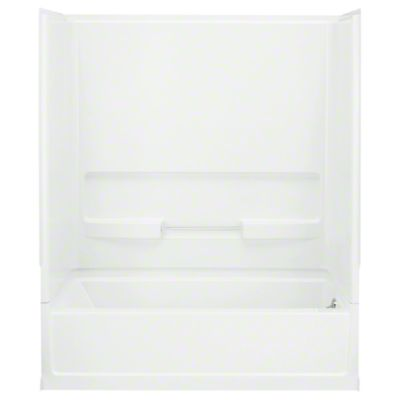 """Advantage™, Series 6103, 60"""" x 30"""" x 72"""" Bath/Shower with Age in Place Backers - Right-hand Drain - White"""