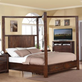 Riata - King Poster Bed Canopy - Warm Walnut Finish