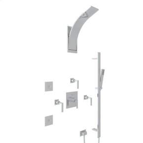 Polished Chrome Wave Thermostatic Shower Package with Metal Lever