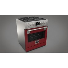 """30"""" Dual Fuel Pro Range - Glossy Red"""