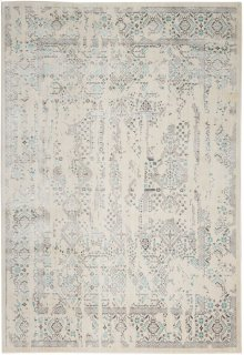 Silver Screen Ki343 Ivory/teal Rectangle Rug 5'3'' X 7'3''