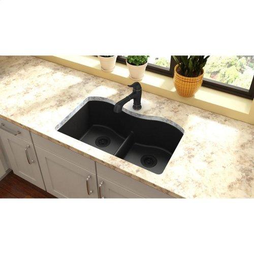 "Elkay Quartz Classic 33"" x 20"" x 9-1/2"", Equal Double Bowl Undermount Sink with Aqua Divide, Black"