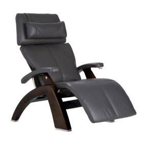 Perfect Chair PC-420 Classic Manual Plus - Gray Premium Leather - Dark Walnut