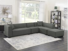 4pc Set-2 Lsf Loveseats-1 Armless Chair-1 Ottoman W/2 Pillows-gray Cinder #zw7381-5