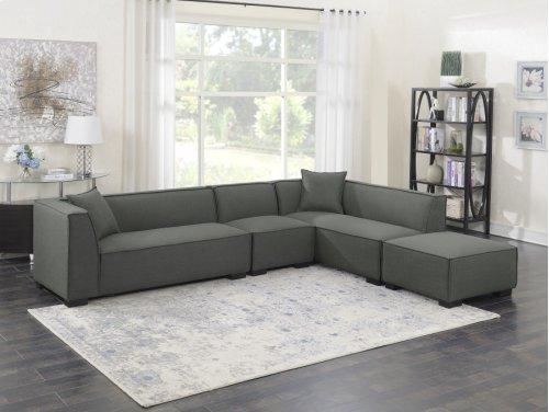 4pc Set-2 Lsf Loveseats-1 Armless Chair-1 Ottoman W/2 Pillows-gray Cinder #zw7381-5