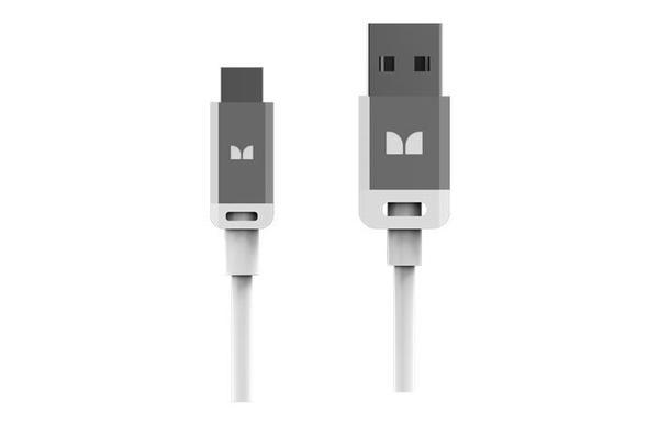 Monster Mobile High Performance USB Type-A 2.0 to Micro USB-B Cable - 3 ft. / White and Silver  WHITE AND SILVER