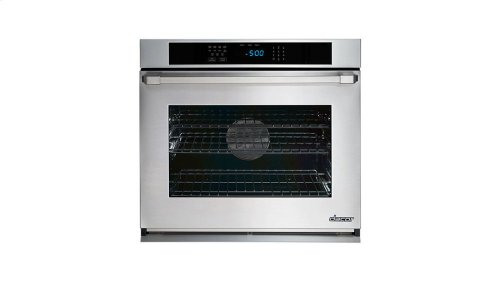 "Renaissance 27"" Single Wall Oven in Black Glass - ships with stainless steel Pro Style handle."