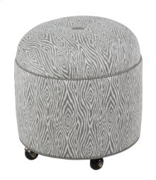Round Ottoman with Center Button Top/Casters
