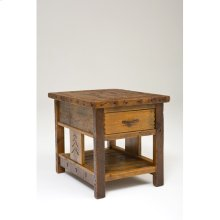 Sequoia Side Table With Drawer and Shelf Square