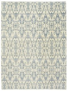 Siam-Ikat Ivory Blue Hand Knotted Rugs