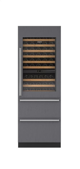 """30"""" Integrated Wine Storage with Refrigerator Drawers - Panel Ready"""