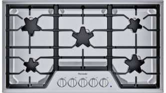 SGSX365TS ™ offers an impressive 36-inch gas cooktop with 5 patented Star™ burners, including a center-mounted power burner, 2 ExtraLow™ Select simmer burners, and 58,200 BTUs of overall heat output. 36-Inch Masterpiece™ Star™ Burner Gas Cooktop, Ext