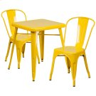23.75'' Square Yellow Metal Indoor-Outdoor Table Set with 2 Stack Chairs Product Image