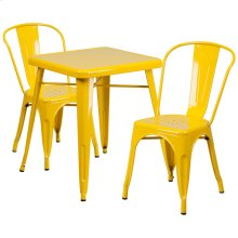 23.75'' Square Yellow Metal Indoor-Outdoor Table Set with 2 Stack Chairs
