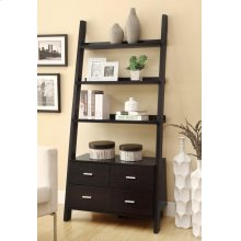 Contemporary Cappuccino Leaning Bookcase