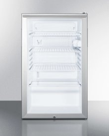 "Commercially Listed 20"" Wide Glass Door All-refrigerator for Freestanding Use, Auto Defrost With A Lock, White Cabinet, and Horizontal Handle"