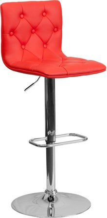 Contemporary Button Tufted Red Vinyl Adjustable Height Barstool with Chrome Base