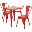 23.75'' Square Red Metal Indoor-Outdoor Table Set with 2 Stack Chairs Product Image