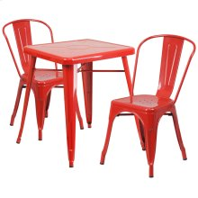 23.75'' Square Red Metal Indoor-Outdoor Table Set with 2 Stack Chairs