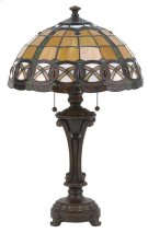 Table Lamp - Ant. Bronze W/tiffany Shade, E27 Cfl 13wx2 Product Image