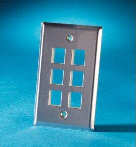 Single gang stainless steel faceplate, holds six Keystone jacks or modules