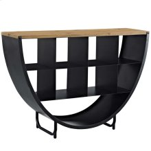 Gladden Pine Wood and Steel Stand in Black