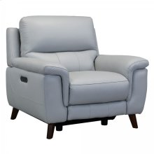 Lizette Contemporary Top Grain Leather Dove Grey Power Recliner Chair with USB
