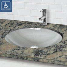Translucence Oval Undermount Glass Sink - Frosted Crystal