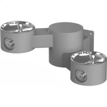 Elkay Outdoor Drinking Fountain Wall Mount, Bi-Level, Non-Filtered Non-Refrigerated, Gray