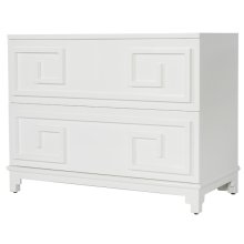 Oriental 2 Drawer Chest In White Lacquer With Beveled Mirror Inset Top. Drawers On Glides.